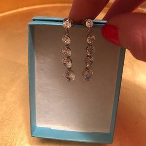 Silver CZ Dangle Earrings